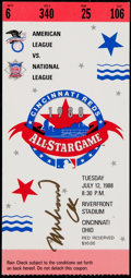 Baseball Collectibles:Tickets, 1988 Muhammad Ali Signed MLB All-Star Game Full Ticket....