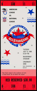Baseball Collectibles:Tickets, 1988 MLB All-Star Game Full Ticket....