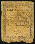 Colonial Notes:Continental Congress Issues, Continental Currency February 17, 1776 $1/2 Very Good.. ...