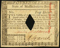Colonial Notes:Massachusetts, Massachusetts May 5, 1780 $4 Diamond Cancel Choice About New.. ...