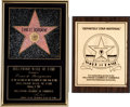 Movie/TV Memorabilia:Awards, An Ernest Borgnine Pair of 'Hollywood Walk of Fame' Awards, Circa1980s.... (Total: 2 )