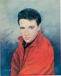 Music Memorabilia:Autographs and Signed Items, Elvis Presley Signed June Kelly Print from Roustabout.... (Total: 2 Items)