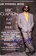 Music Memorabilia:Autographs and Signed Items, Eric Clapton Signed Poster Advertising the Final Concerts by Stevie Ray Vaughan (1990)....