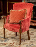 Furniture : American, A Kittinger George III-Style Mahogany Upholstered Wingback Chair,20th century. 40-1/2 h x 27 w x 26 d inches (102.9 x 68.6 ...