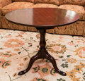 Furniture , A George III-Style Mahogany Tilt-Top Tea Table, late 19th century. 28 h x 32 di inches (71.1 x 81.3 x 81.3 cm). ...