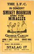 Music Memorabilia:Posters, Smokey Robinson & the Miracles Grace Hall Concert Poster(1967)....