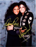 Music Memorabilia:Autographs and Signed Items, Michael Jackson and Diana Ross Signed Color Photo....