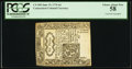 Colonial Notes:Connecticut, Connecticut June 19, 1776 6d Cross-Cut Cancelled PCGS Choice AboutNew 58.. ...