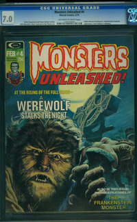 Monsters Unleashed #4 (Marvel, 1974) CGC FN/VF 7.0 Off-white to white pages