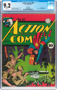 Action Comics #60 San Francisco Pedigree (DC, 1943) CGC NM- 9.2 White pages