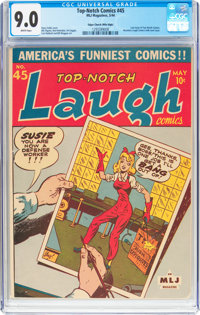 Top-Notch Comics #45 Mile High Pedigree (MLJ, 1944) CGC VF/NM 9.0 White pages