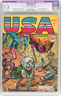 USA Comics #1 (Timely, 1941) CGC Apparent VF- 7.5 Moderate (P) Cream to off-white pages
