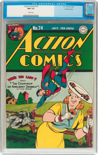 Action Comics #74 Crowley Copy Pedigree (DC, 1944) CGC NM 9.4 White pages