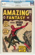 Silver Age (1956-1969):Superhero, Amazing Fantasy #15 (Marvel, 1962) CGC FN+ 6.5 Cream to off-whitepages....
