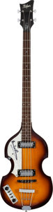 Music Memorabilia:Memorabilia, Beatles - Paul McCartney Signed 2000's Hofner Left-Handed B-Bass Icon Series Sunburst Electric Bass Guitar....