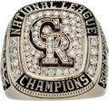 Baseball Collectibles:Others, 2007 Colorado Rockies National League Championship Ring Presented to Pitcher Ramon Ortiz....