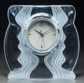 Art Glass:Daum, Daum Clear and Frosted Glass Clock . Late 20th century. EngravedDaum, France. Ht. 9-1/4 in.. ...
