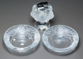 Art Glass:Lalique, Three Lalique Clear and Frosted Glass Lion SmokingAccessories. Cigar lamp and two ashtrays, one in original box...(Total: 3 Items)
