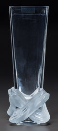Art Glass:Lalique, Lalique Clear and Frosted Glass Lucca Vase. In originalLalique box.. Circa 2008. Engraved Lalique, France. ...