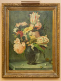 "Works on Paper, A Still Life with Pink Tulips and Roses in Glass Vase . Oil and Mixed Media on Canvas. Early 21st Century; signed ""A. Vollon..."
