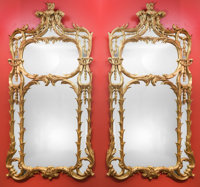 A Pair of Monumental Louis XV-Style Carved Giltwood Pier Mirrors 80 h x 44 w inches (203.2 x 111.8 cm)