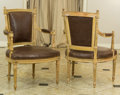 Furniture : French, A Pair of Louis XVI-Style Carved Wood and Leather UpholsteredFauteuils, 20th century. 35-1/8 h x 24 w x 20-1/2 d inches (89...(Total: 2 Items)