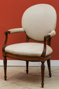 Furniture , A Sheraton-Style Inlaid and Carved Mahogany Upholstered Armchair, early 20th century. 39 h x 26 w x 21 d inches (99.1 x 66.0...