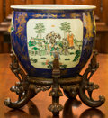 Asian:Chinese, A Large Chinese Polychrome Porcelain Fishbowl Jardinière with Stand. 22 inches high (55.9 cm) (including stand). ... (Total: 2 Items)