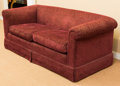 Furniture , A Fortuny-Style Cut-Velvet Upholstered Sofa, 20th century. 28 h x 72 w x 33 d inches (71.1 x 182.9 x 83.8 cm). ...