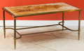 Furniture : French, A Mid-Century French Bronze Coffee Table with Gold Mottled GlassTop, circa 1940. 17-1/2 h x 37 w x 19-1/4 d inches (44.5 x ...