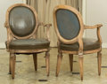 Furniture : French, Eight Don Rousseau Louis XVI-Style Leather Upholstered CarvedBeechwood Fauteuils, mid-20th century. 36 h x 24 w x 22 d inch...(Total: 8 Items)