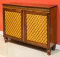 Furniture , A Pair of Regency-Style Brass Inlaid Mahogany Cabinets, 20th century. 35-1/2 h x 43-1/2 w x 11-1/2 d inches (90.2 x 110.5 x ... (Total: 4 Items)