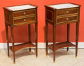 Furniture : French, A Pair of Empire-Style Brass Mounted Mahogany Side Tables withMarble Tops, early 20th century. 29 h x 15-1/2 w x 10 d inche...(Total: 2 Items)