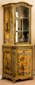 Furniture : Continental, A Venetian Rococo-Style Giltwood and Polychrome Glazed VitrineCabinet with Chinoiserie Motifs, 19th century. 81-1/4 h x 30 ...(Total: 3 Items)