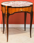 Furniture : French, A Louis XVI-Style Parquetry Side Table with Marble Top. 29 h x 24 wx 18 d inches (73.7 x 61.0 x 45.7 cm). ...