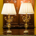 Lighting:Lamps, A Pair of Gilt Bronze and Marble Candelabra Mounted as Lamps, late 19th century and later. 28 inches high (71.1 cm) (includi... (Total: 2 Items)