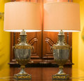 Decorative Arts, French, A Pair of Louis XVI-Style Gilt Bronze Mounted GrisSainte-Anne Marble Cassolette Table Lamps, mid-20th century.... (Total: 2 Items)
