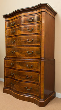 A Very Fine George III Inlaid Mahogany Chest on Chest, early 19th century 70 h x 44 w x 23 d inches (177.8 x 111.8