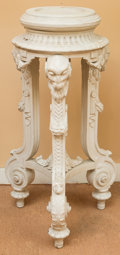 Decorative Arts, British, A Neoclassical Painted Athenienne Pedestal with Ram Motif, late19th century. 34 inches high (86.4 cm). ...