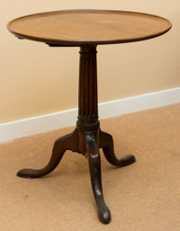 A George III Mahogany Tea Table, early 19th century 27 h x 24-1/2 w x 24-1/4 d inches (68.6 x 62.2 x 61.6 cm) <...