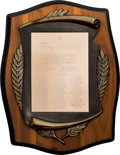 Football Collectibles:Others, 1973 Green Bay Packers Team Members Appreciation Plaque Presented to Ray Nitschke....