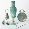 Judaica:Finials and Containers, AMMONITE. Iron Age II, circa 800-600 BCE. Bronze 8-piece wine serving set.... (Total: 8 Items)
