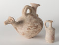 Judaica:Archaeology, CANAANITE - CYPRIOT. Late bronze age, circa 1550-1200 BCE.Terracotta zoomorphic askos.... (Total: 2 Items)
