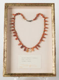 Judaica:Archaeology, CANAANITE. Late Bronze Age, 1500-1300 BCE. Red carnelian, coral and agate bead necklace....