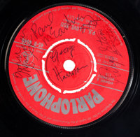 "Beatles Autographed First Pressing Of ""P.S. I Love You/Love Me Do"" 45 (Parlophone, 1962). Extremely Rare"