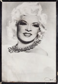 Movie/TV Memorabilia:Posters, A Mae West Huge Wooden Poster, Circa 1950s....