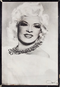 A Mae West Huge Wooden Poster, Circa 1950s