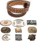 Movie/TV Memorabilia:Costumes, An Ernest Borgnine Belt and Elaborate Belt Buckles, 1970s-2000s....