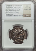 Ancients:Greek, Ancients: MACEDONIAN KINGDOM. Alexander III the Great (336-323 BC).AR tetradrachm (16.97 gm). NGC XF 5/5 - 4/5...