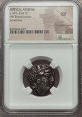 Ancients:Greek, Ancients: ATTICA. Athens. Ca. 393-294 BC. AR tetradrachm. NGC XF,countermarks....